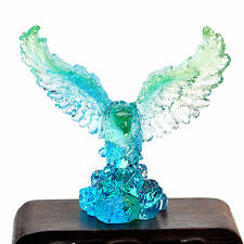 Feng shui Liuli Crystal Blue Wings Eagle Animal Statue Glazed Stand Decoration