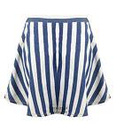 Ladies Denim White Striped Skater Flare Mini Short Women's Skirt 8-14
