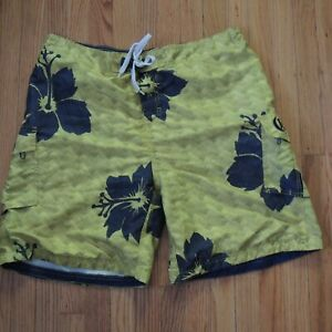 Corona Swim Trunks Mens Sz XL Yellow Blue Floral Beach Shorts