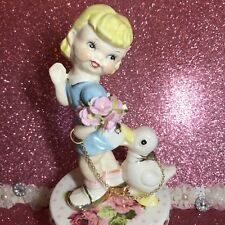 Vtg Happy Girl W/ Duck On Gold Chain Nipping At Her Blue Dress Figurine Japan