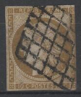 """FRANCE STAMP TIMBRE 1a """" CERES 10c BISTRE-BRUN 1850 """" OBLITERE A VOIR  N790"""