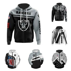 Las Vegas Raiders Hoodie Full Zip Sweatshirt Casual Hooded Jacket Home of Fans