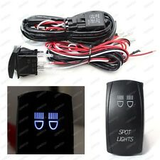 2-Output Relay Wiring Harness w/ Spot Lights Blue LED Light Switch For Fog Lamp