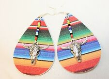 ROCK'N U DESIGNS Women's FAUX LEATHER Earrings - WESTERN SERAPE COW SKULL DROP