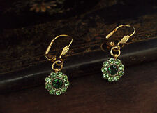 Vintage Peridot & Emerald Green Crystal Drop Pierced Earrings