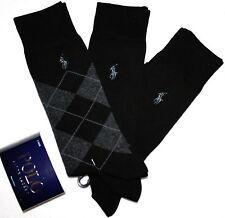 POLO RALPH LAUREN 3 pairs Argyle Black Dress men's socks  NEW