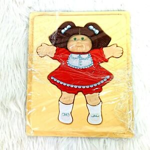 Cabbage Patch Doll 3D Plastic Tray Puzzle Brown Hair Green Eyes Red Dress