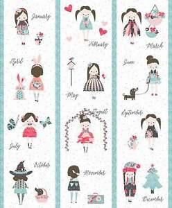 Riley Blake Abbie's Garden Calendar Fabric Quilt/Closet panel 100% cotton