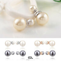 Doppel Perlen Ohrringe Perlenohrringe Ohrstecker mit Perle doppelt 2 Perlen