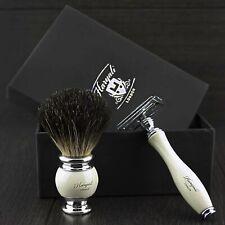 Men Shavings DE Safety Razor and Black Badger Hair Shaving 2 Pieces Shaving kit