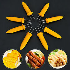 8pcs STAINLESS STEEL CORN ON THE COB HOLDERS BBQ PRONGS SKEWERS FORKS PARTY