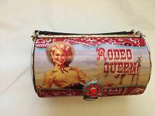 Vintage Designer Western Rodeo Queen Metal Round Case with bottle cap gem snap