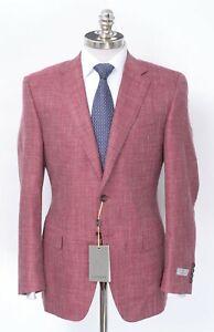 NWT $1595 CANALI Berry Wool Silk Linen Hopsak Sport Coat Jacket 44 L (EU 54)