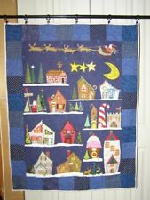 New listing North Pole quilt hand made new applique with bling, buttons, beads, dark blue