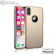 Ultra Thin 360 Full Protective Case Hard PC Cover w/ Tempered Glass For iPhone X