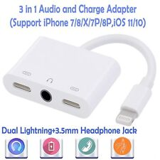 Lightning Audio 3.5 Adapter with dual lightning charging portfor Apple iphone