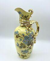 "Antique ~1895 Rudolstadt Straus&Söhne Handled Porcelain Hand Painted Vase 10.5"""
