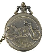 Ladies Mens MOTORCYCLE NECKLACE WATCH Fob Pocket Half Hunter Biker Harley BRASS