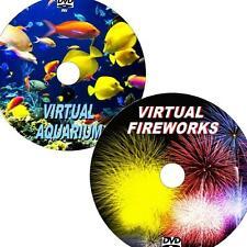 VIRTUAL AQUARIUM & FIREWORKS GREAT 2 DVD VIDEO SET VIEW ON FLATSCREEN TV/PC NEW
