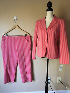 NWT Rafael Sport Cotton Leasure Suit 2 Pc Cropped Pants Blazer Stretch Striped L