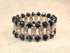 Royal Blue Faceted Bead Rhinestone Stretch Bead Bracelet
