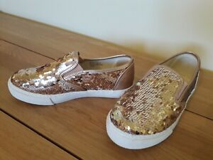 STUNNING GOLD SEQUIN SLIP ON PUMPS FROM MONSOON SIZE 2