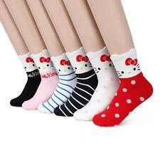 (6 Pairs) Hello Kitty Crew Socks Sanrio Women Girls Cat Gifts Fashion He16