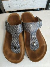 Taos Lucy Leather Adjustable Strap Thong Sandals Womens Size 37 snake print