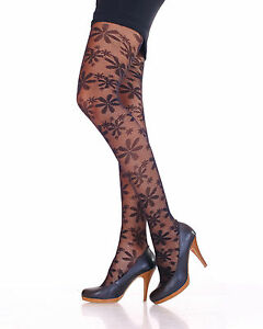 Ladies Quality Patterned Tights 20 Denier by Lady Sofia Black