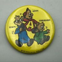 "1983 Alvin Simon Theodore The Chipmunks 2-1/4"" Button Pin Pinback Vintage  R5"