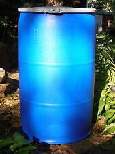 PLASTIC BARREL 55 GAL.- HDPE Resealable Blue Open Top Drum With Ring Clamp