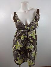 ADORABLE WOMENS BROWN & GREEN COTTON SUMMER SUN DRESS SIZE S