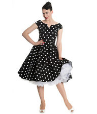 Hell Bunny 50s Nicky Polka Dot Rockabilly Dress Spotted Black Red Blue UK 16 (xl) Black