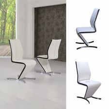 """""""ROSSELLA"""" Designer White Z Faux Leather Dining Chair with Black Strip"""