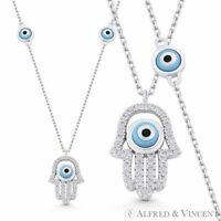 Hamsa Hand Evil Eye Bead Charm CZ Crystal 925 Sterling Silver Pendant & Necklace
