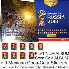 2 ALBUMS: Platinum & Coca Cola +9 CC STICKERS PANINI FIFA CUP RUSSIA 2018 MEXICO