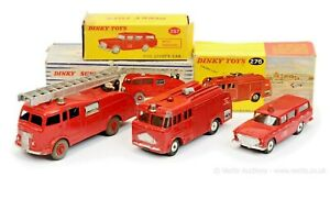 VINTAGE DINKY TOYS 276 Airport #955 Fire Engine #257Fire Chief JOB LOT OF 3