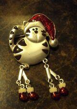 Christmas Dangle Leg Cat Pin