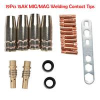 19PCS Pointes de Contact de Soudage MB15AK MIG / MAG Cache-buse de Gaz M6