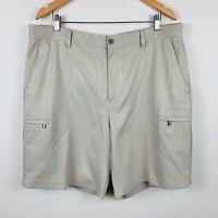 Izod Mens Golf Short Size 38 Beige With Zip Pockets