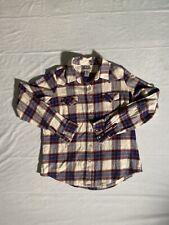 Wrangler Wrancher Womens Long Sleeve Pearl Snap L Beige Blue Plaid Flannel Shirt