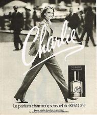 PUBLICITE ADVERTISING 074  1977  REVLON  eau de toilette & parfum CHARLIE