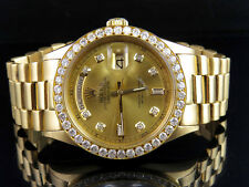 18K Mens Yellow Gold Rolex President 1803 Day-Date 36MM Diamond Watch 3.25 Ct