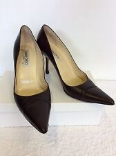 JIMMY CHOO DARK BROWN LEATHER HEELS SIZE 7.5 /41.5