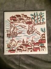 VINTAGE WHEELING CERAMIC TILE SET OF 5