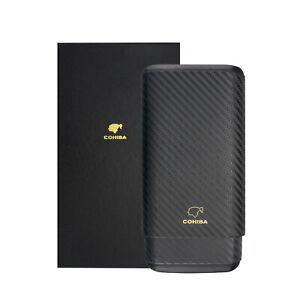 Cigar Case Carbon fiber Wood lined Cigar Holder Portable Travel Box 3 Cigars