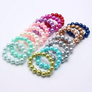 Children Chunky Acrylic Round Bubblegum Beads Bracelet Pure Color Pearl Jewelry