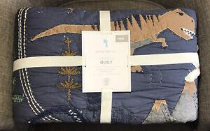 Pottery Barn Kids Jurassic Dinosaur Twin Quilt ~ Includes Standard Sham T-Rex