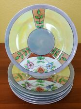 Takito TT Lustreware Set of 6 Floral Plates 1930s Yellow Blue Luster Dishes