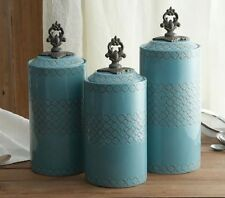 Kitchen Canister Set Ceramic Turquoise Blue Counter Table Storage Containers